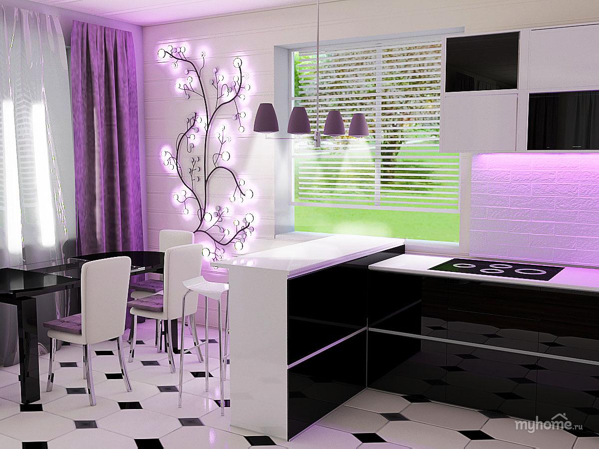 Кухня фиолетовая белая  № 1839224 бесплатно