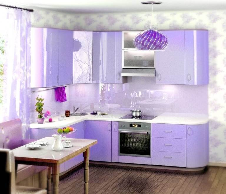 Дизайн кухни в сиреневых тонах