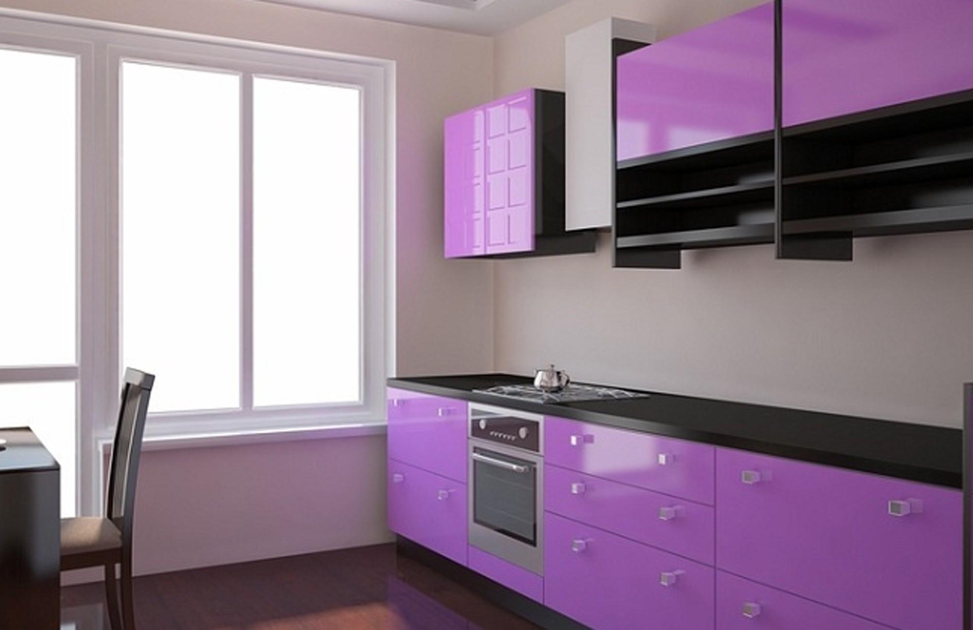 Кухня фиолетовая белая  № 1839150 без смс
