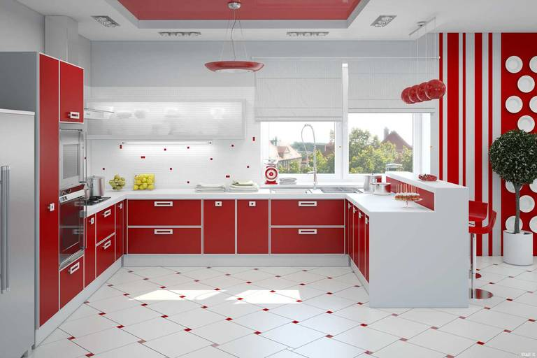 красная и белая кухня