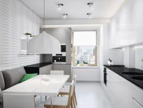 кухня бело-черная