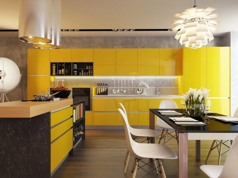 желтая кухня с черным