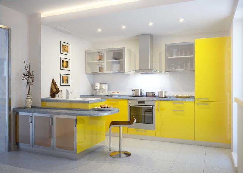 красивые желтые кухни