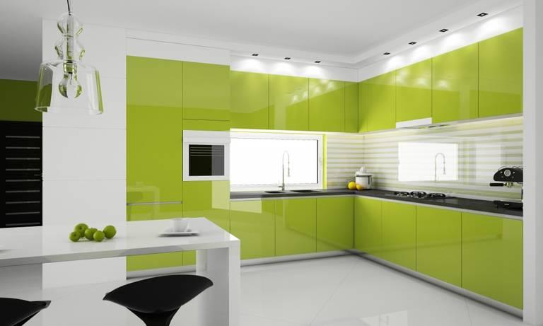 Фисташковый и оливковый цвет кухни