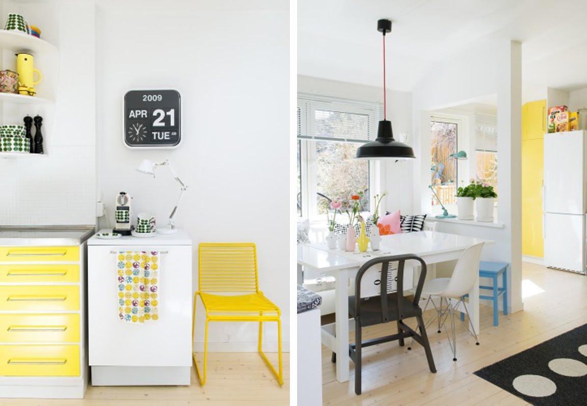 Черно белая кухня с желтыми акцентами фото