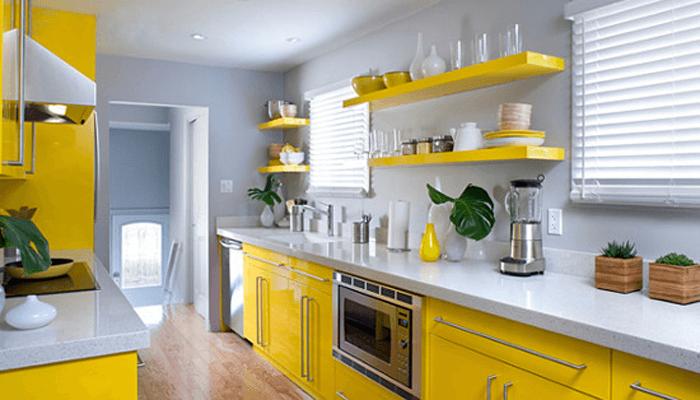 дизайн желтой кухни