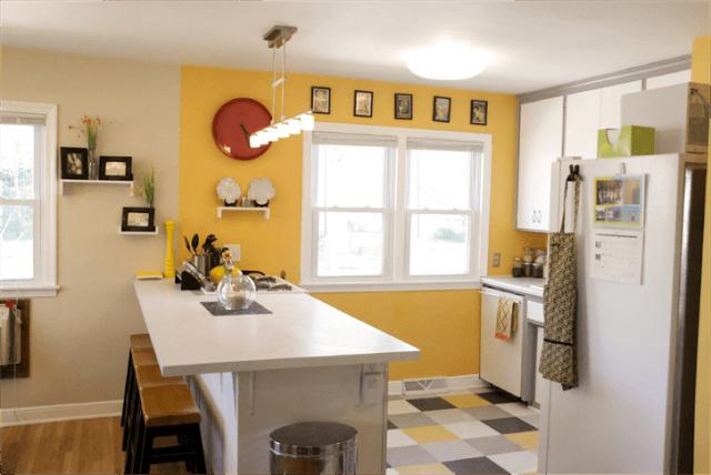 желтая стена на кухне